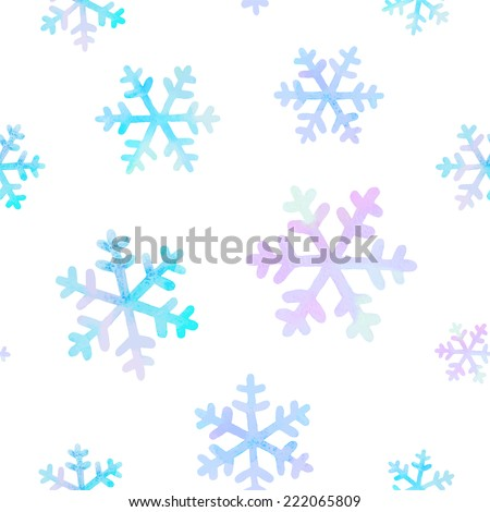 Vector winter seamless pattern with watercolor snowflakes - stock vector