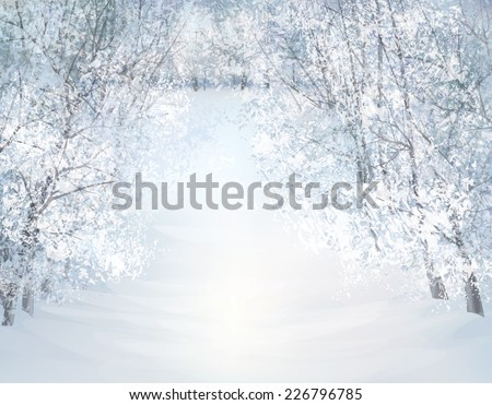 Vector winter snow landscape. - stock vector