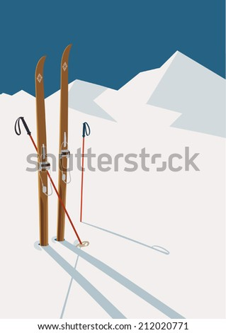 Vector winter themed template with wooden old fashioned skis and poles in the snow with snowy mountains and clear sky on background | Retro looking minimalistic skiing promotion poster template - stock vector