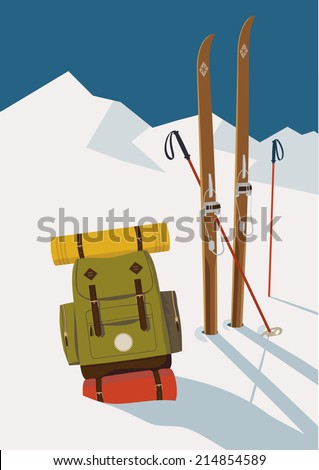 Vector winter themed template with wooden old fashioned skis, poles and green backpack in the snow with mountains and clear sky background | Retro looking minimalistic skiing promotion poster template - stock vector