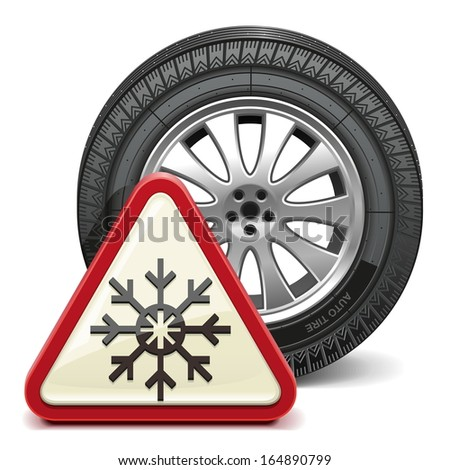 Vector Winter Tire with Sign - stock vector