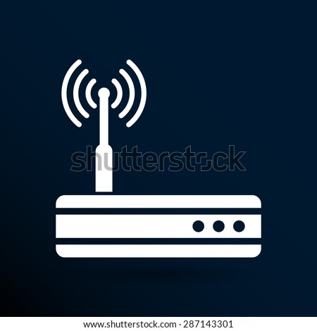 Vector wireless router icon wifi. Ethernet modem hub . - stock vector