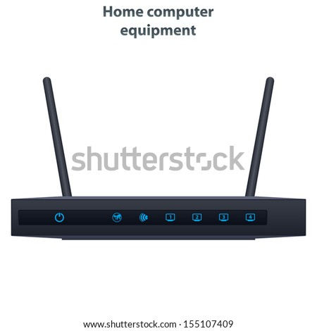Vector wireless router with the two antenna - stock vector