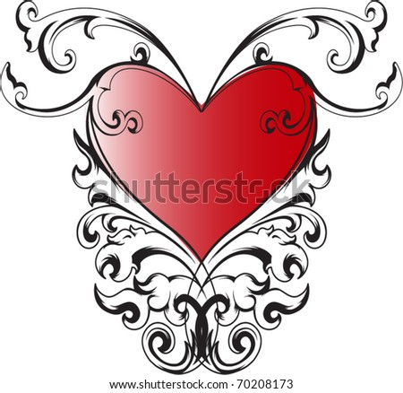 Vector with decorative heart for different uses - stock vector