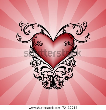 Vector with decorative heart on retro background for different uses - stock vector