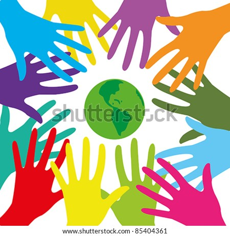 Vector with group of colored human hands and green planet on a white background - stock vector