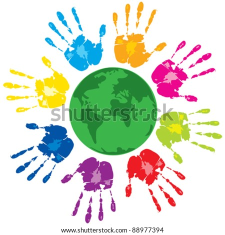 Vector with group of colored human hands and green planet on a white background