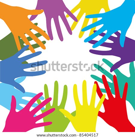 Vector with group of colored human hands on a white background - stock vector