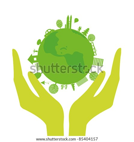 Vector with human hands and green planet on a white background - stock vector