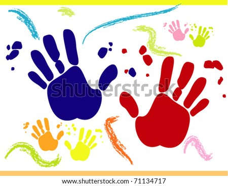 Vector with printed hands on white background for different uses - stock vector