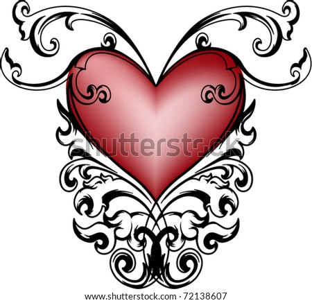 Vector with retro decorative heart for different uses - stock vector