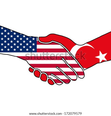 Vector with two shaking hands, USA - Turkey - stock vector