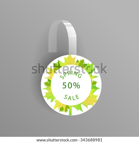 Vector wobbler mockup with transparent strip.Template for your hanging shelf tag design.Spring sale design for print.Maple Leaves. - stock vector
