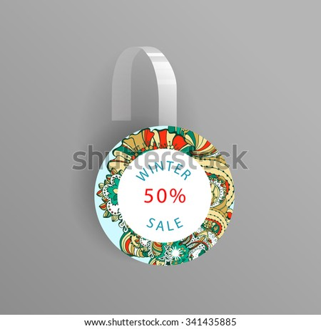 Vector wobbler mockup with transparent strip.Template for your hanging shelf tag design.Winter doodle style  sale design for print. - stock vector