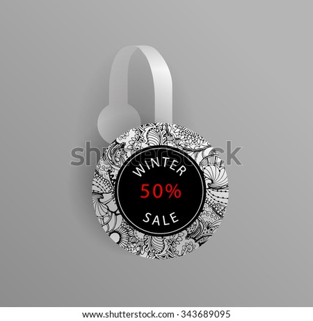 Vector wobbler mockup with transparent strip.Template for your hanging shelf tag design.Winter black and white doodle ornament. Sale design for print. - stock vector