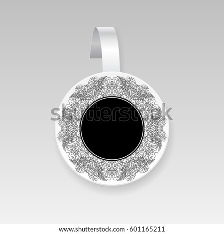 Vector wobbler with floral circle pattern.Template for your design.