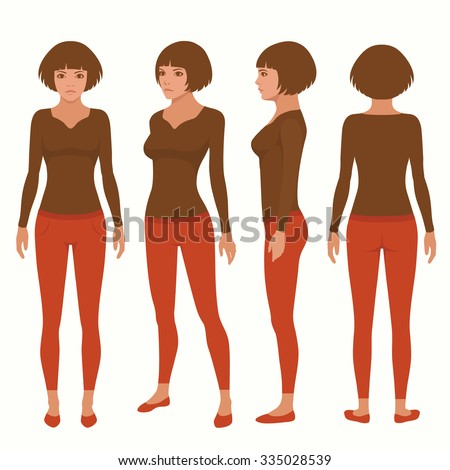 vector woman cartoon character, young girl illustration - stock vector