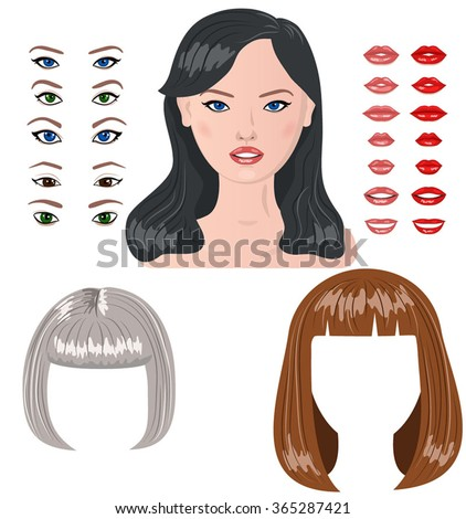 Vector woman characters constructor. Female faces icon creator - stock vector