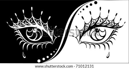 Vector woman eyes illustration. - stock vector