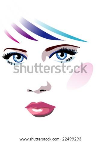 vector woman face - stock vector