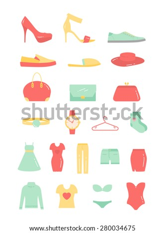 Vector Woman Fashion Clothing flat icon set - stock vector