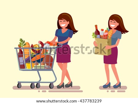 vector woman in supermarket with shopping cart - stock vector