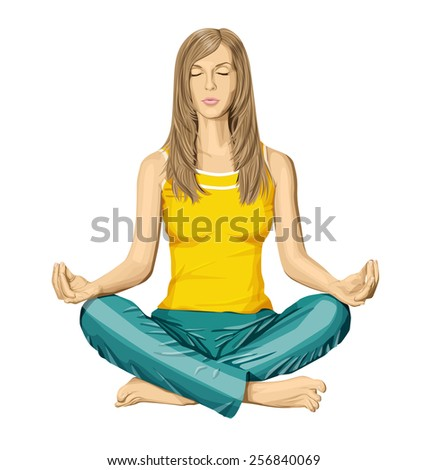 Vector woman meditating in lotus pose - stock vector