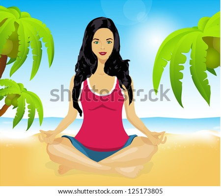 Vector. Woman meditating on a picturesque beach