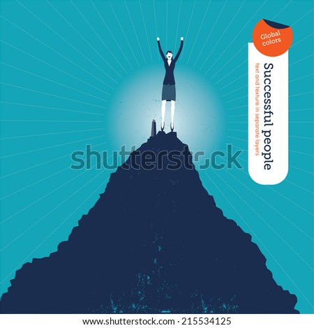Vector woman on top of the hill. Vector illustration Eps10 file. Global colors. Text and Texture in separate layers. - stock vector