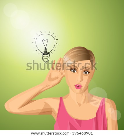 Vector woman overhearing something with her ear and hand, very surprised - stock vector