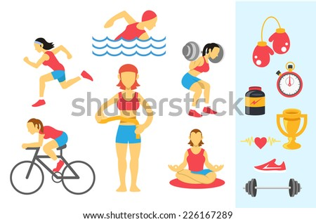 Vector womans sport and fitness infographics. Color flat icon set - stock vector