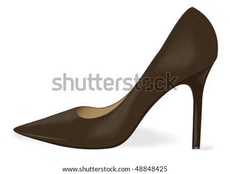 vector women's black high heel shoe - stock vector