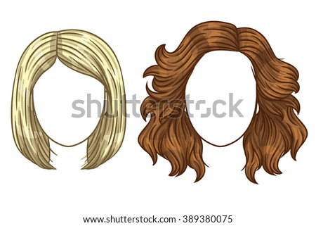 Vector women's haircut. Fashionable women's hair styling. Different types of hair styling. Blonde and brunette with straight and curly hair. - stock vector