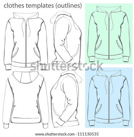 Vector. Women's hooded sweatshirt with zipper and pockets (back, front and side view). Outlines - stock vector