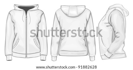 Vector. Women's hooded sweatshirt with zipper (back, front and side view) - stock vector