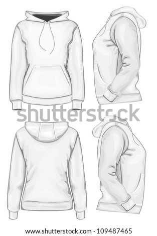 Vector. Women's hooded sweatshirt without zipper (back, front and side view) - stock vector