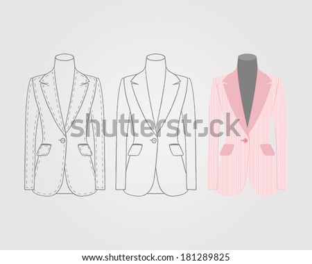 vector women's jacket on mannequin - stock vector