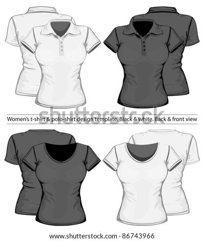 Vector. Women's polo-shirt and t-shirt design template (front and back view) - stock vector