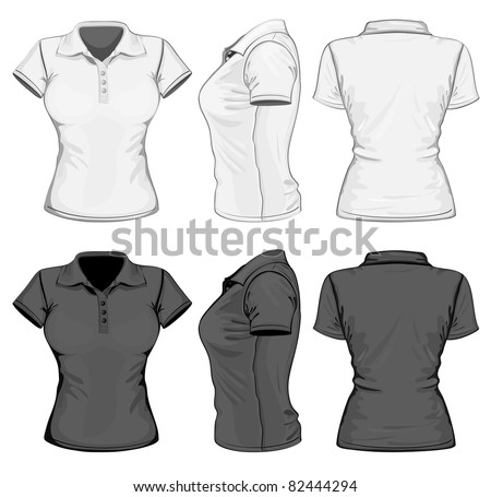 Vector. Women's polo-shirt design template (front, back and side view). No mesh. - stock vector