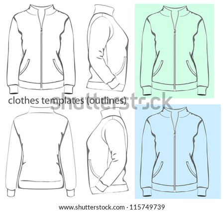 Vector. Women's sweatshirt with zipper and pockets (back, front and side view). Outlines - stock vector