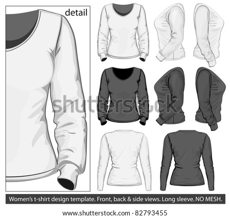 Vector. Women's t-shirt design template (front, back and side view). Long sleeve. No mesh. - stock vector