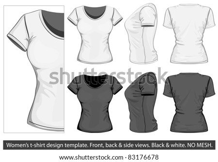 Vector. Women's t-shirt design template (front, back and side view). No mesh. - stock vector