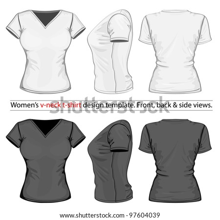 Vector. Women's v-neck t-shirt design template (front, back and side view). - stock vector