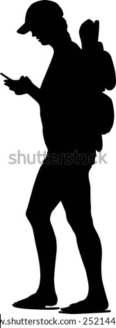 Vector women tourist on the cell phone silhouette . Tourist on a trip - stock vector