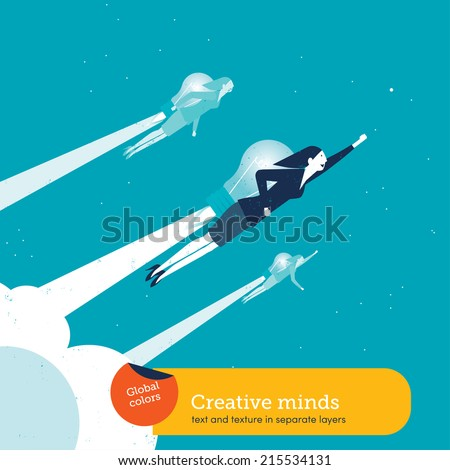 Vector women with a bulb rocket. Vector illustration Eps10 file. Global colors. Text and Texture in separate layers. - stock vector