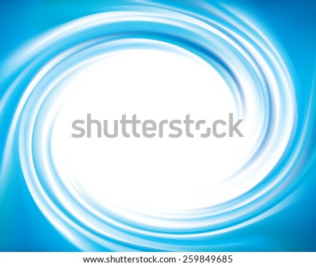 Vector wonderful azure dizzy swirling backdrop pattern with space for text. Beautiful volute fluid surface vivid turquoise color with glowing white center in middle of funnel - stock vector
