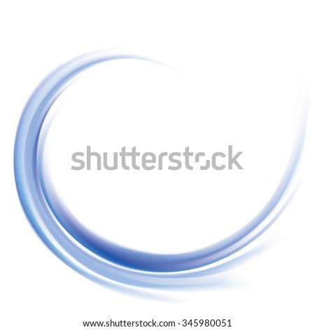 Vector wonderful futuristic soft curvy ultramarine rippled fond with space for text. Beautiful volute surface vivid deep cobalt iris color with glowing white center in middle of funnel - stock vector