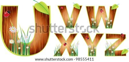 Vector wood abc eps 10 - stock vector