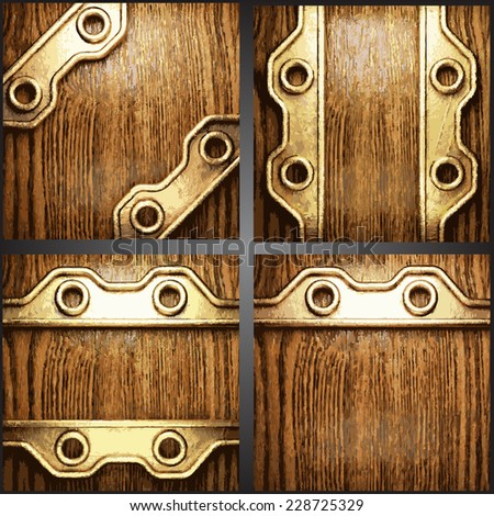 Vector wood and gold background set - stock vector