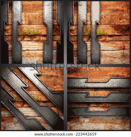 Vector wood and metal background set - stock vector